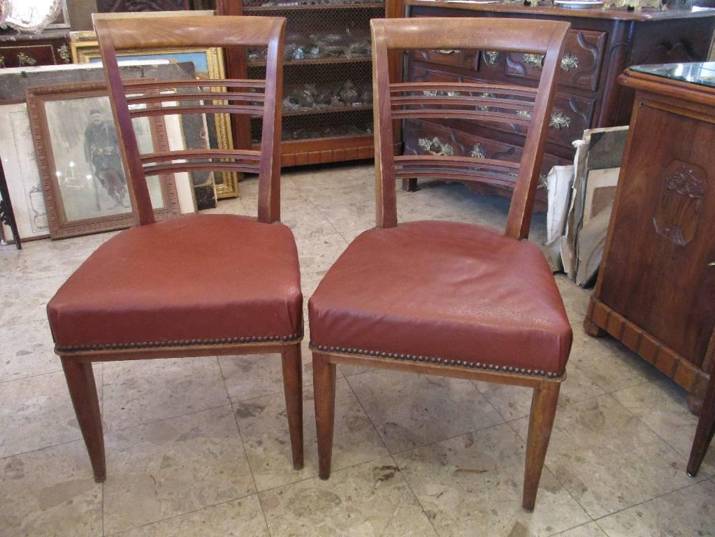 Ensemble Guéridon et deux chaises, H. Schmitt - Lucien ROLLIN | Puces Privées