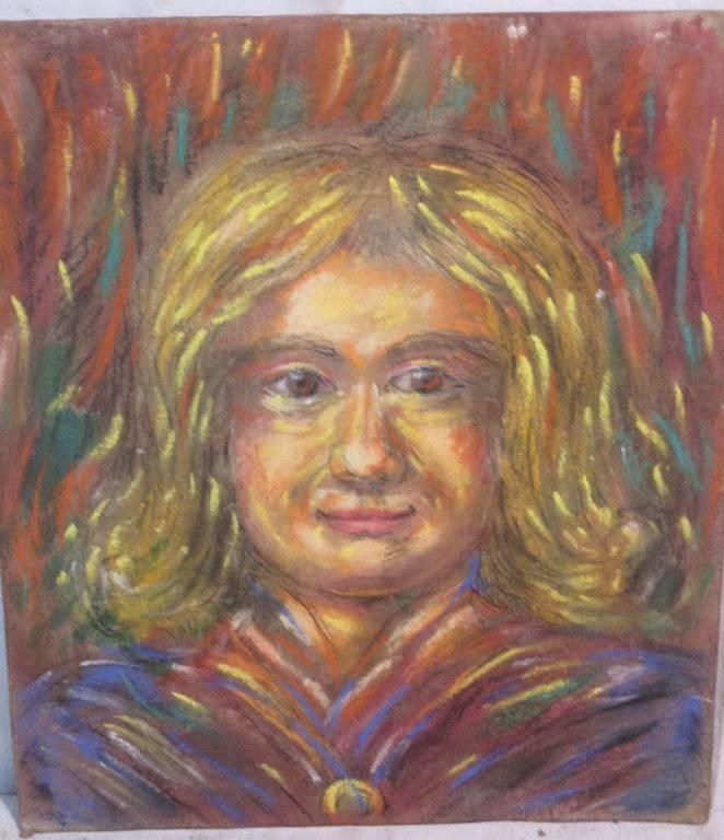 Portrait au pastel sur carton | Puces Privées