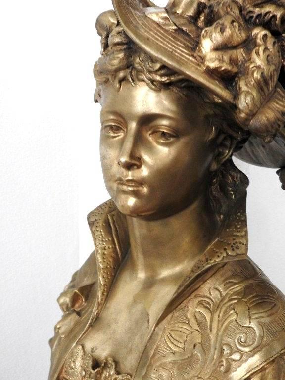 Buste en bronze signé Louis jean GREGOIRE 1840-1890.   Puces Privées