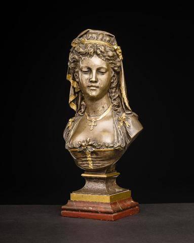 buste en Bronze doré et argenté signé Eugéne- Antoine AIZELIN (1821-1902).   Puces Privées