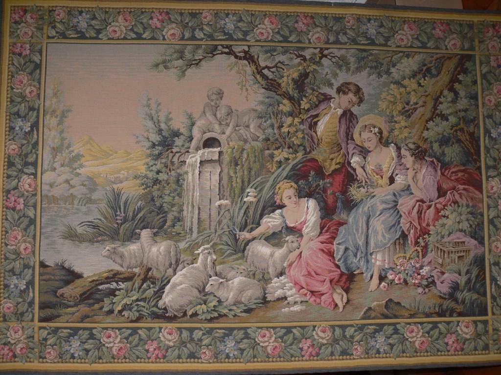 Tapisserie murale  à décor galant dans le goût d'Aubusson   Puces Privées