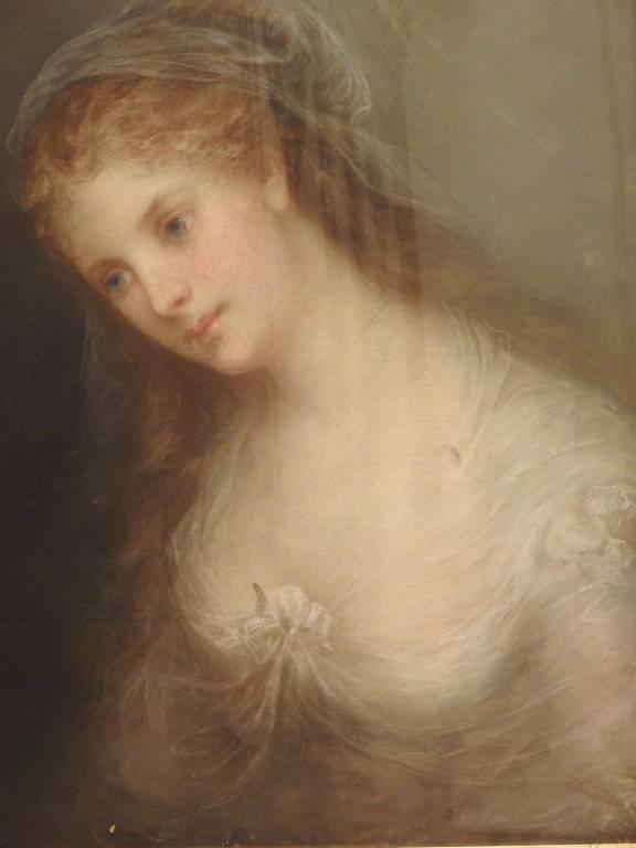 Portrait de femme au fichu signé F.GROSCLAUDE | Puces Privées