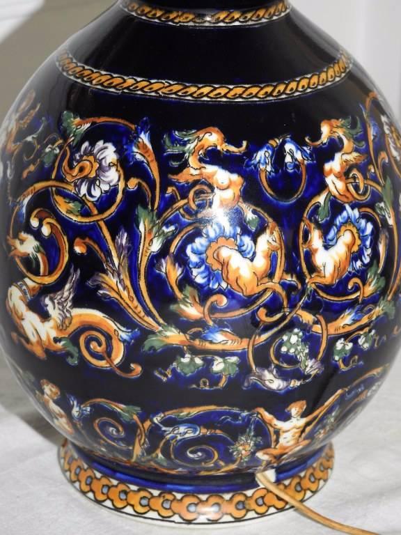 GIEN : Vase à col étranglé monté en Lampe. | Puces Privées