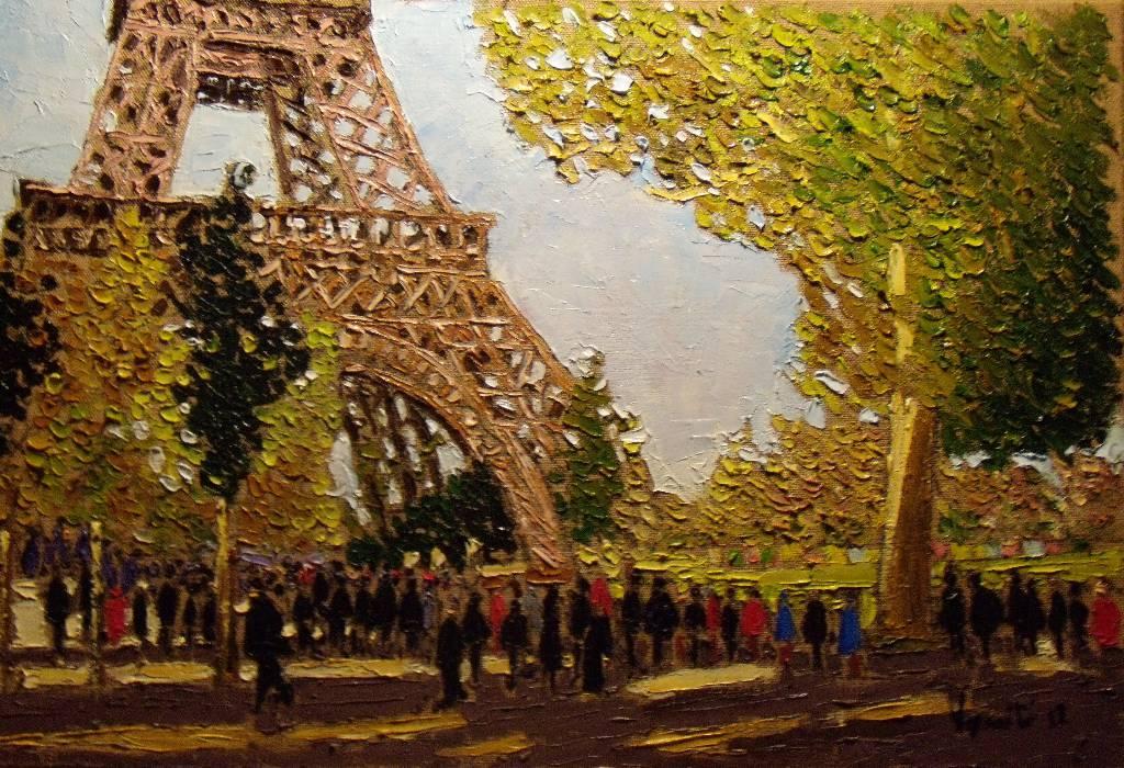 Paris, La tour Eiffel, huile au couteau par S. Verniti   Puces Privées