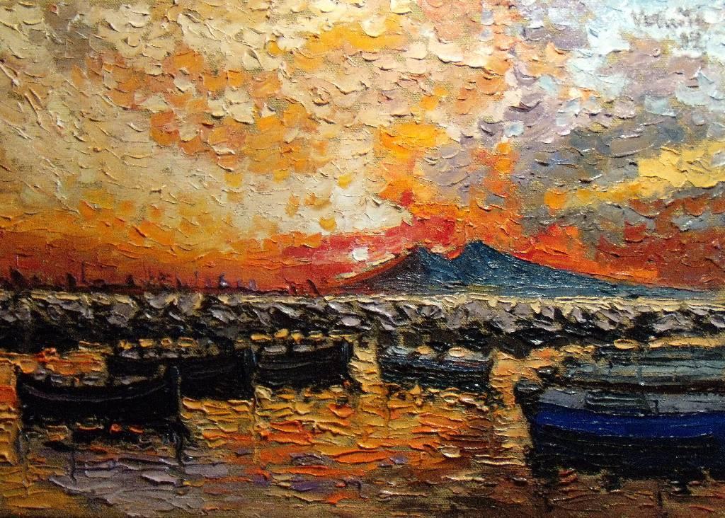 Coucher de soleil sur Naples, au loin le Vésuve, par S. Verniti | Puces Privées