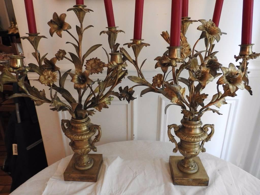 Paire de cassolettes en bronze doré | Puces Privées