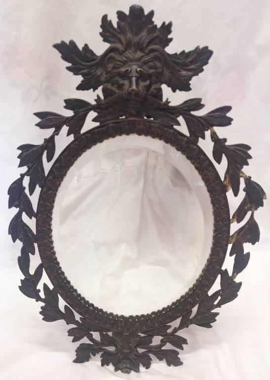 Ancien miroir de toilette Victorien en bronze XIXème | Puces Privées