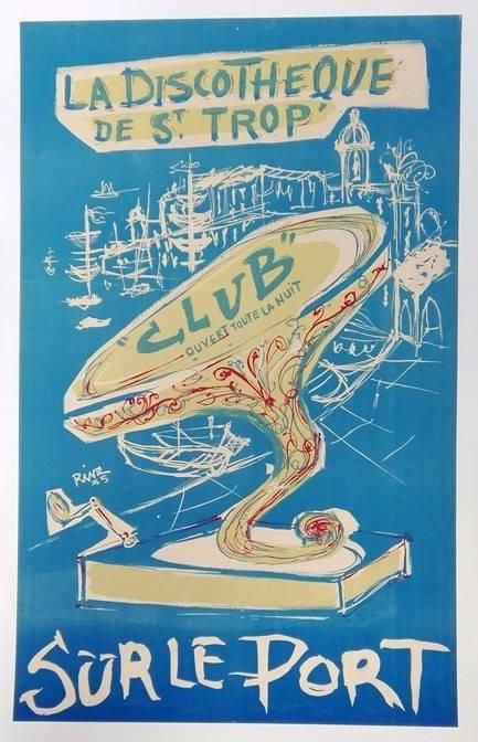 affiche originale 1935  discothèque sur le port de Saint Tropez entoilée   Puces Privées