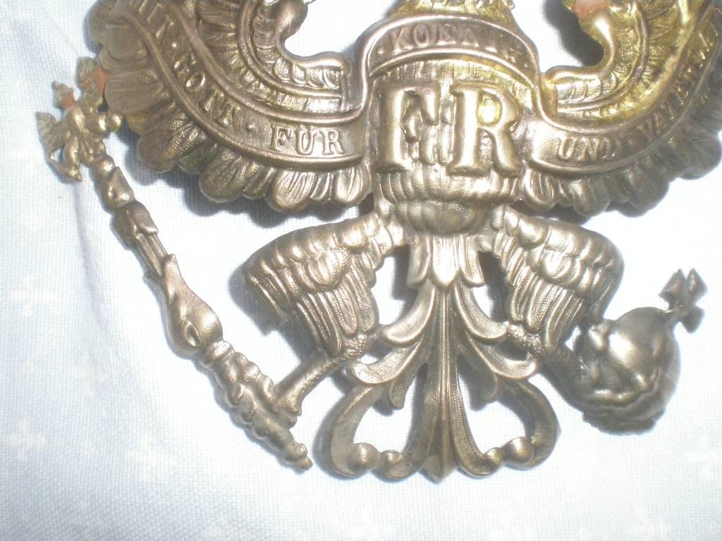 plaque de troupe de casque a pointe modele 1895 de 1 guerre   Puces Privées