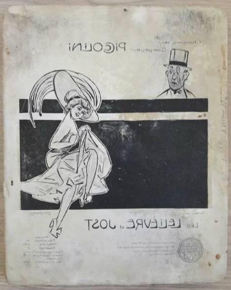 Pierre lithographique Piccolini 1910, Lelièvre & Jost Pousthomis   Puces Privées