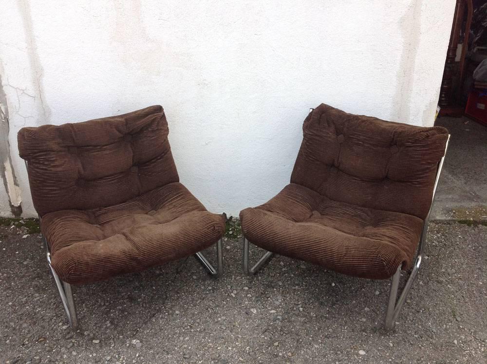 Paire de fauteuils chrome Dux international suède   Puces Privées