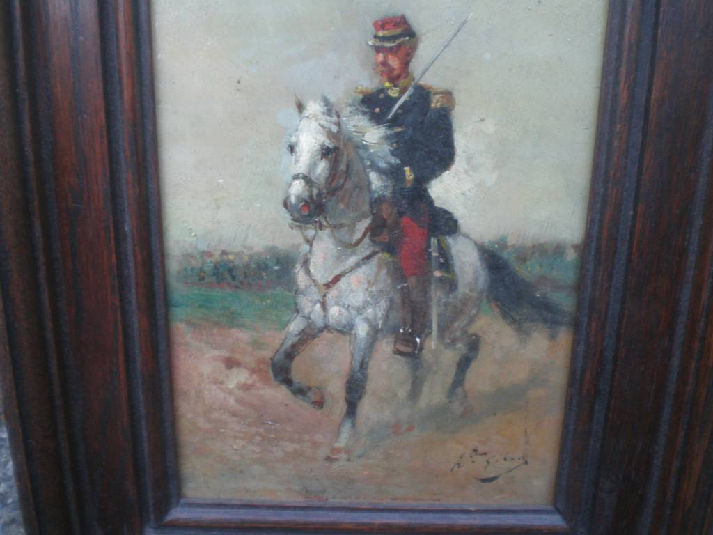 tableau peinture sur bois d officier francais de l infanterie guerre de 1870 | Puces Privées