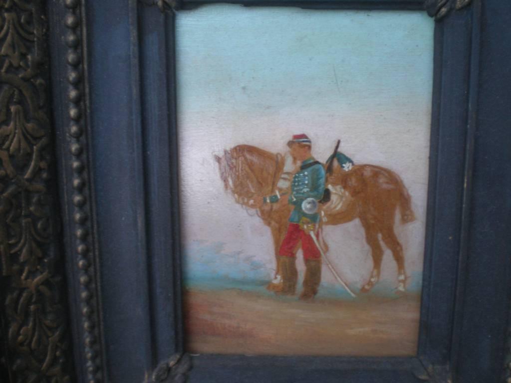 tableau huile sur bois hussard 2 empire   Puces Privées