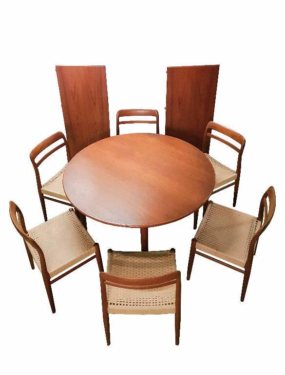 Table danoise Teck SKOVMAND & ANDERSEN + 6 chaises | Puces Privées