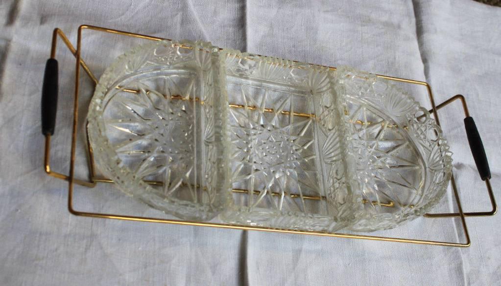 Plat Plateau apéritif vintage années 70 verre et métal | Puces Privées