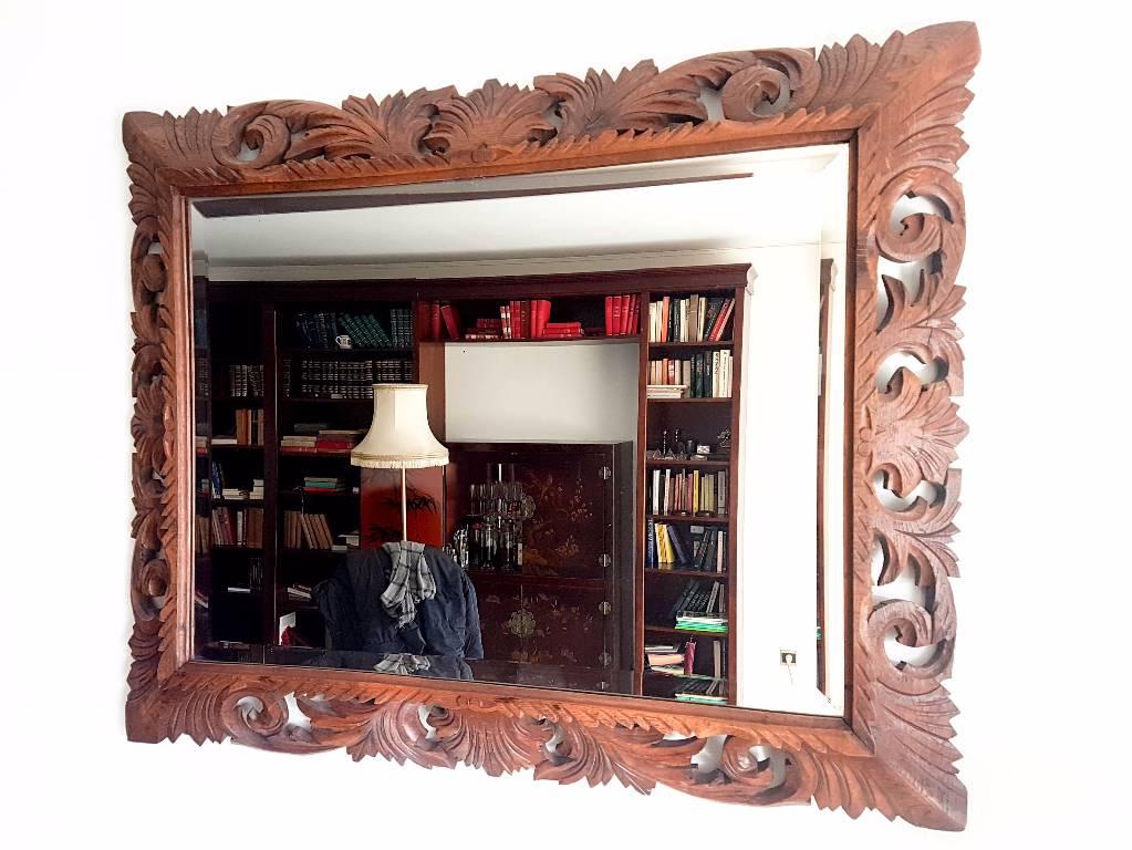 Miroir style Louis XIII biseauté en chêne massif | Puces Privées