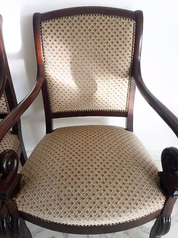 Paire fauteuils style Restauration à enroulements   Puces Privées