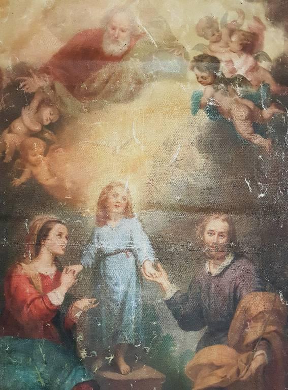 Bannière d'église Sainte Famille XIXeme | Puces Privées