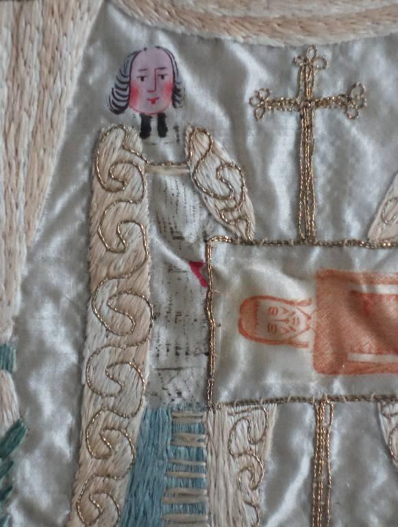 Tableau religieux brodé  fin XVIIIème- début XIXème siècle | Puces Privées