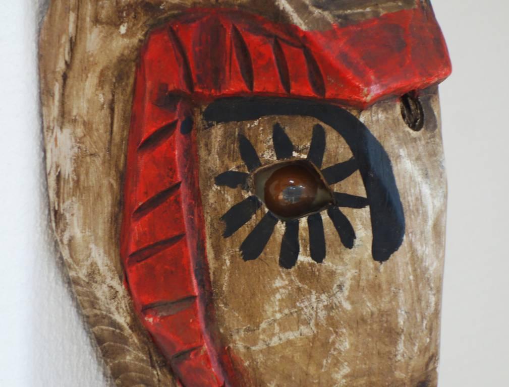 Masque mexicain en bois polychrome   Puces Privées